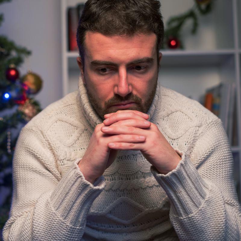 Sad Man over the Holidays