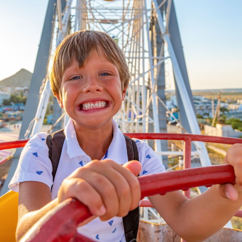 Scared Kid on Coaster Vacation