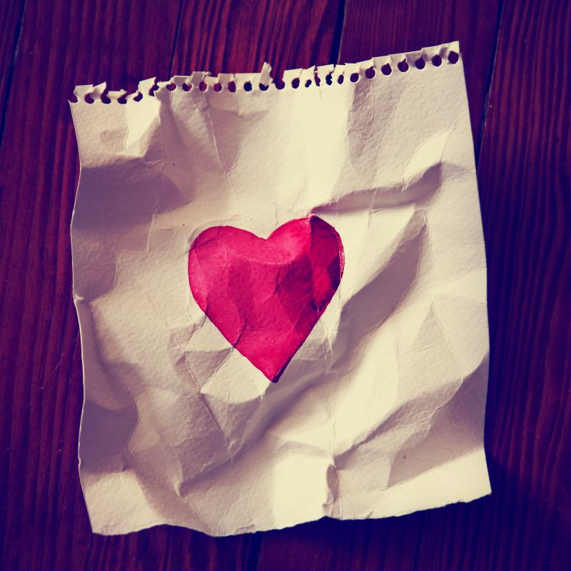 Valentines Painted Paper Heart